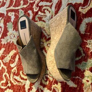 Suede cork-heeled wedges